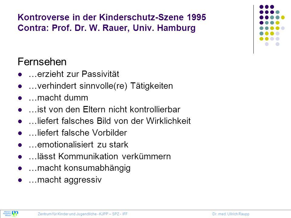 Kontroverse in der Kinderschutz-Szene 1995 Contra: Prof. Dr. W. Rauer, Univ. Hamburg Fernsehen …erzieht zur Passivität …verhindert sinnvolle(re) Tätig