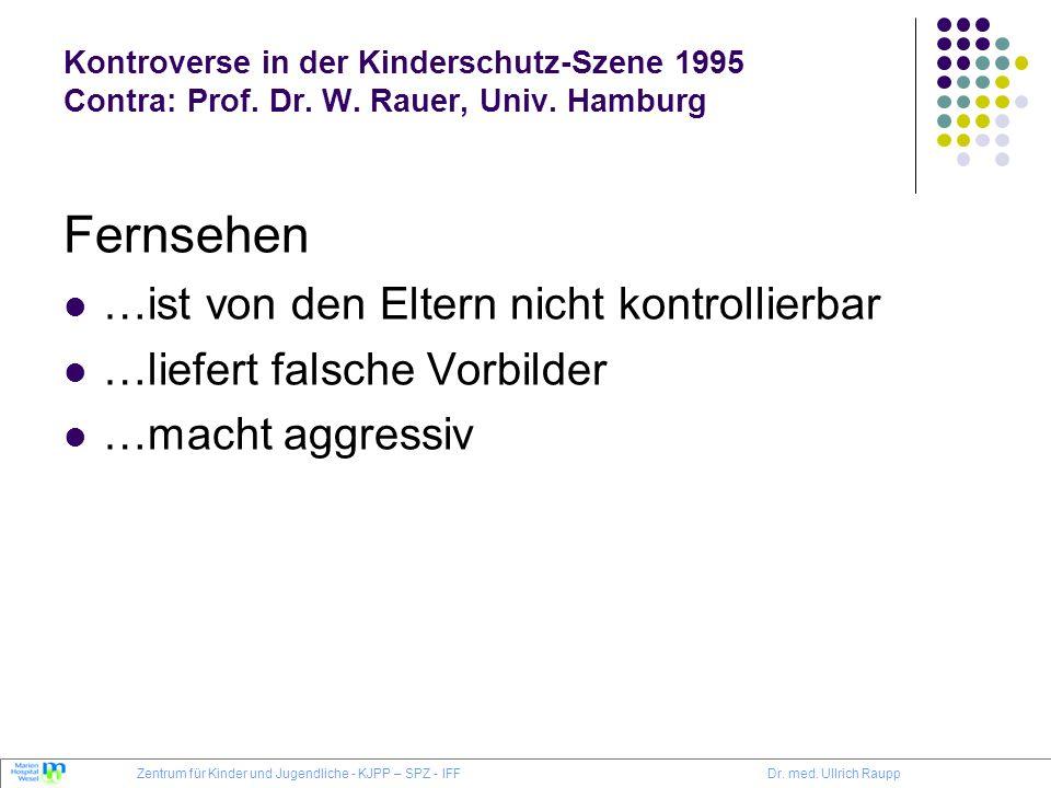 Kontroverse in der Kinderschutz-Szene 1995 Contra: Prof. Dr. W. Rauer, Univ. Hamburg Fernsehen …ist von den Eltern nicht kontrollierbar …liefert falsc