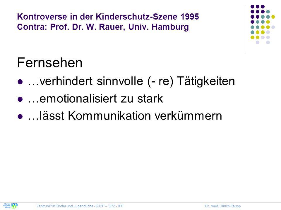Kontroverse in der Kinderschutz-Szene 1995 Contra: Prof. Dr. W. Rauer, Univ. Hamburg Fernsehen …verhindert sinnvolle (- re) Tätigkeiten …emotionalisie