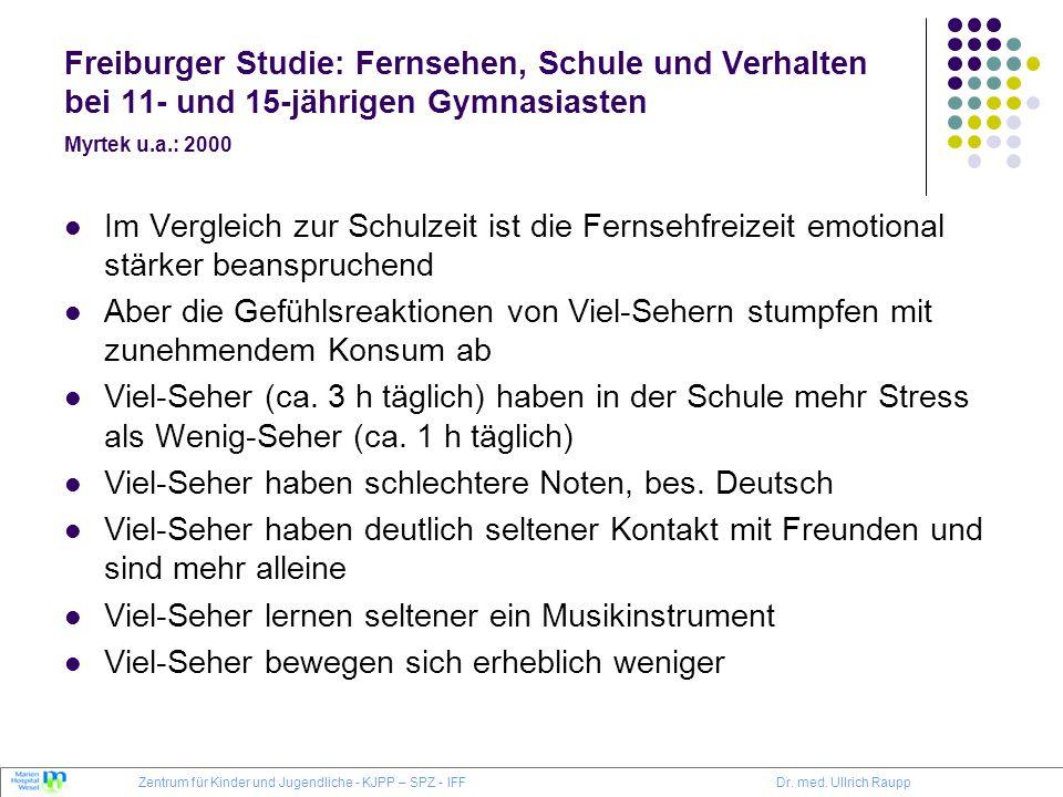 Freiburger Studie: Fernsehen, Schule und Verhalten bei 11- und 15-jährigen Gymnasiasten Myrtek u.a.: 2000 Im Vergleich zur Schulzeit ist die Fernsehfr