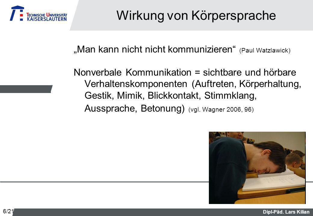 Dipl-Päd. Lars Kilian Wirkung von Körpersprache Man kann nicht nicht kommunizieren (Paul Watzlawick) Nonverbale Kommunikation = sichtbare und hörbare