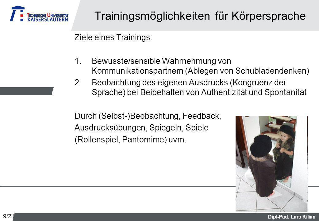 Dipl-Päd. Lars Kilian Trainingsmöglichkeiten für Körpersprache Ziele eines Trainings: 1.Bewusste/sensible Wahrnehmung von Kommunikationspartnern (Able