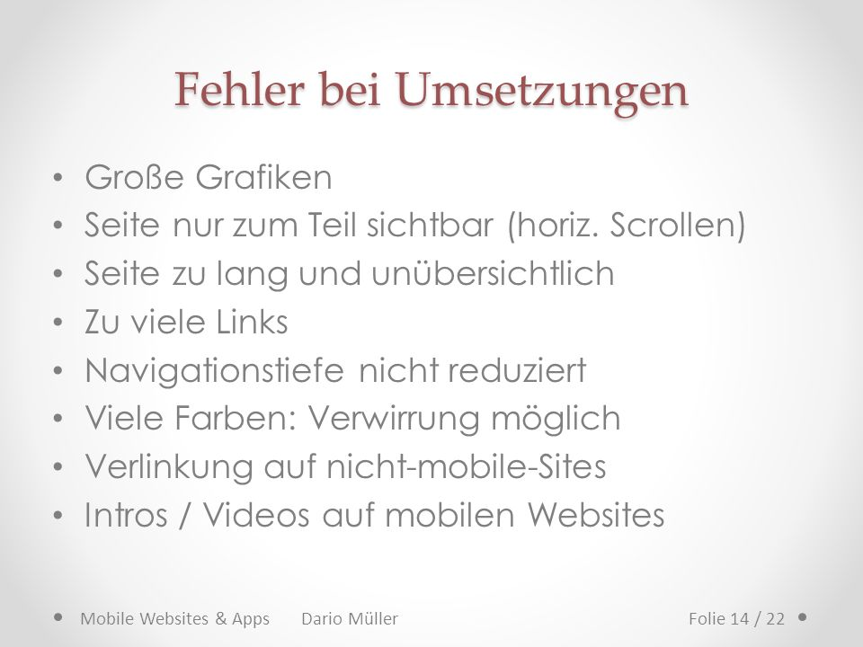 App != App Website & Web-App & native App Mobile Websites & Apps Dario MüllerFolie 15 / 22