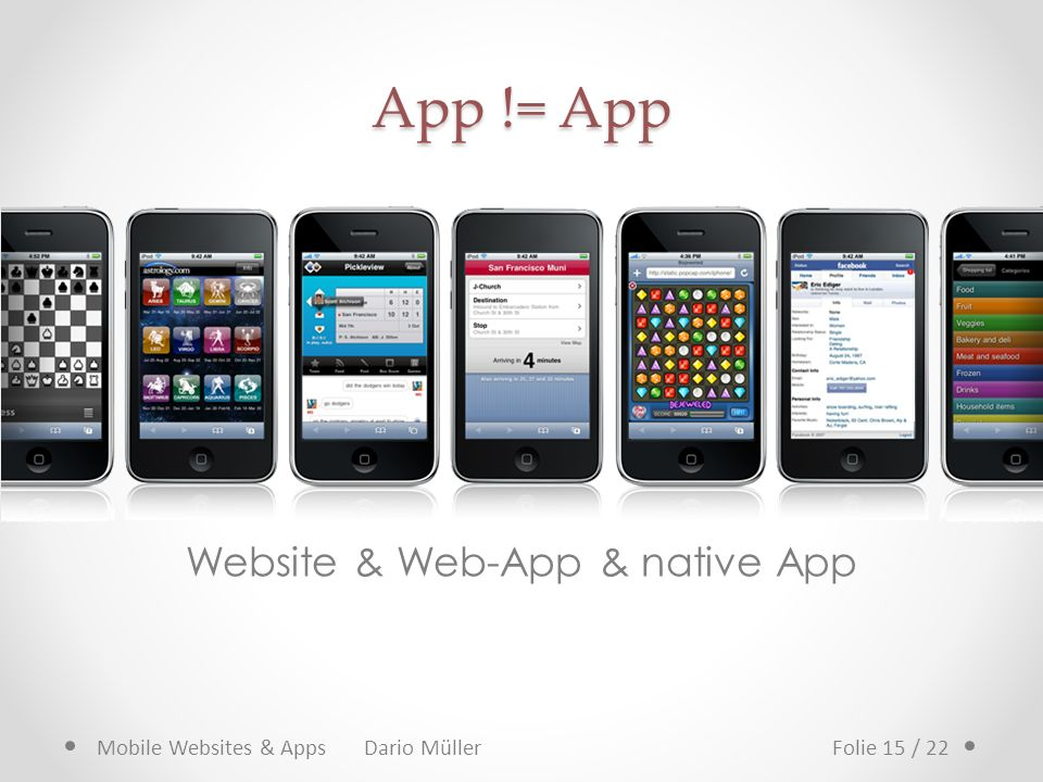 App != App Website & Web-App & native App Mobile Websites & Apps Dario MüllerFolie 15 / 22