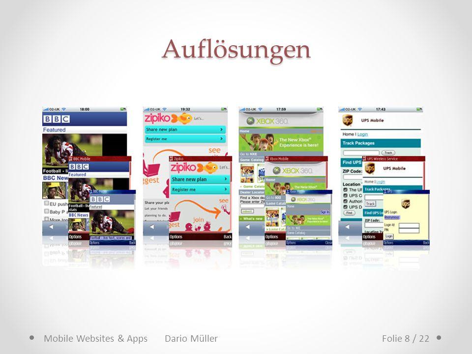 Auflösungen Mobile Websites & Apps Dario MüllerFolie 8 / 22