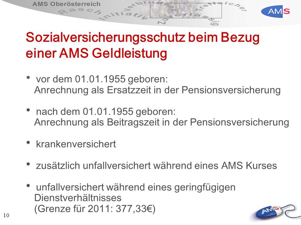 10 Sozialversicherungsschutz beim Bezug einer AMS Geldleistung vor dem 01.01.1955 geboren: Anrechnung als Ersatzzeit in der Pensionsversicherung nach
