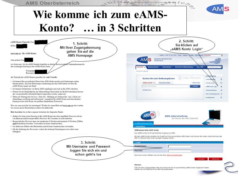 Wie komme ich zum eAMS- Konto? … in 3 Schritten 1. Schritt: Mit Ihrer Zugangskennung gehen Sie auf die AMS Homepage 3. Schritt: Mit Username und Passw