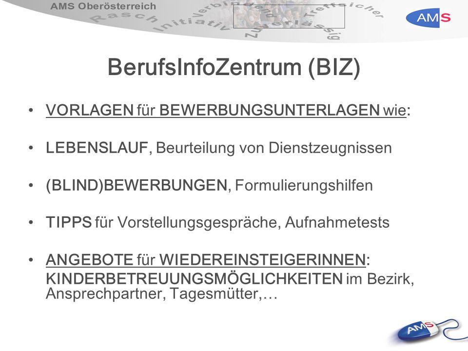 BerufsInfoZentrum (BIZ) VORLAGEN für BEWERBUNGSUNTERLAGEN wie: LEBENSLAUF, Beurteilung von Dienstzeugnissen (BLIND)BEWERBUNGEN, Formulierungshilfen TI