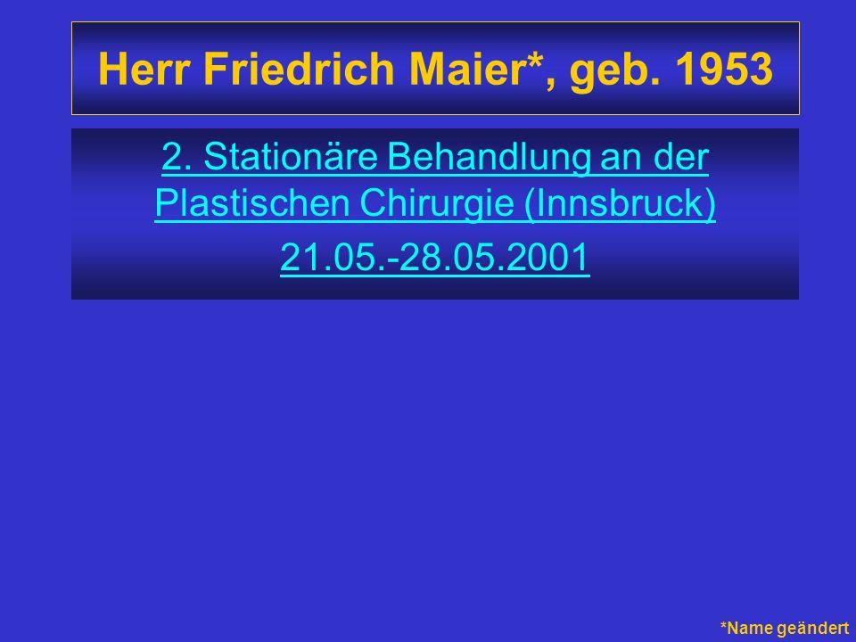 Herr Friedrich Maier*, geb. 1953 2. Stationäre Behandlung an der Plastischen Chirurgie (Innsbruck) 21.05.-28.05.2001 *Name geändert