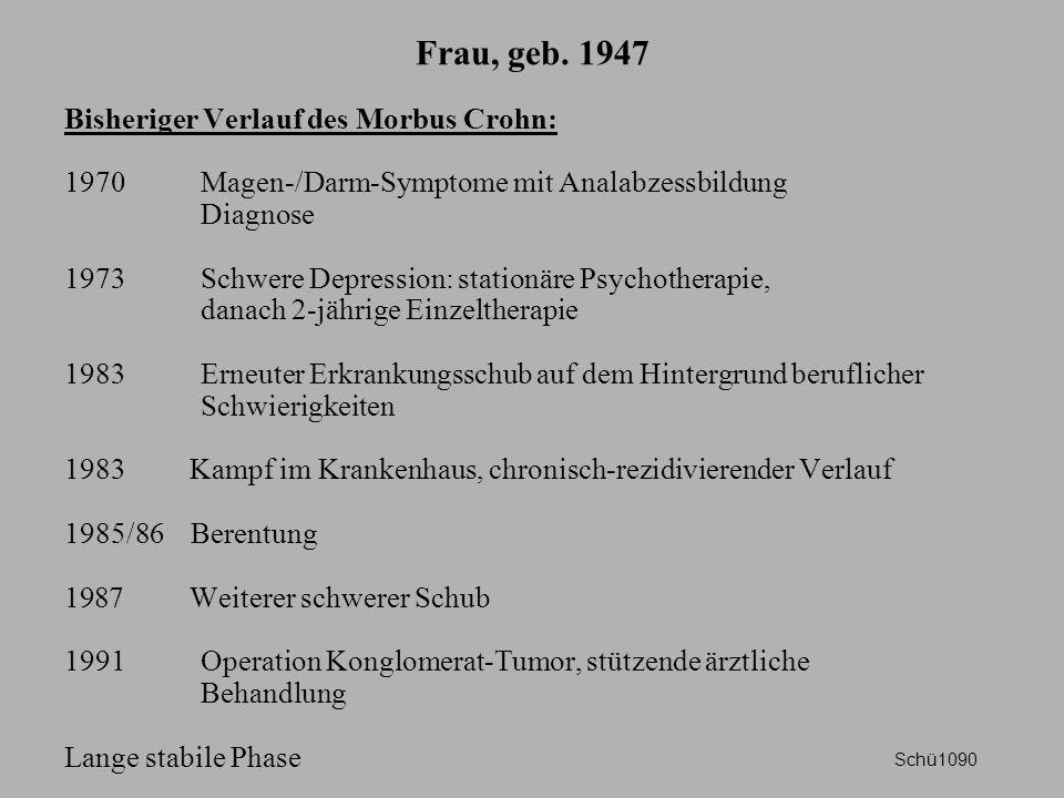 Frau, geb. 1947 Bisheriger Verlauf des Morbus Crohn: 1970 Magen-/Darm-Symptome mit Analabzessbildung Diagnose 1973 Schwere Depression: stationäre Psyc