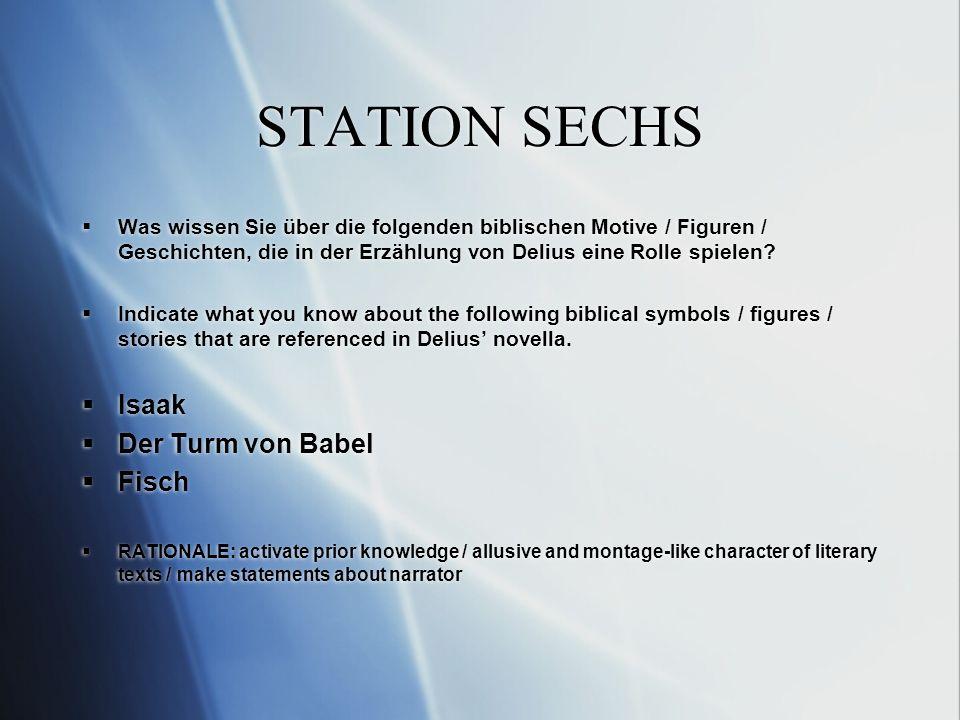 STATION SECHS Was wissen Sie über die folgenden biblischen Motive / Figuren / Geschichten, die in der Erzählung von Delius eine Rolle spielen.