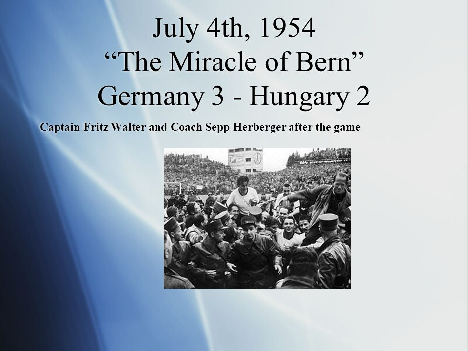 July 4th, 1954 The Miracle of Bern Germany 3 - Hungary 2 Captain Fritz Walter and Coach Sepp Herberger after the game