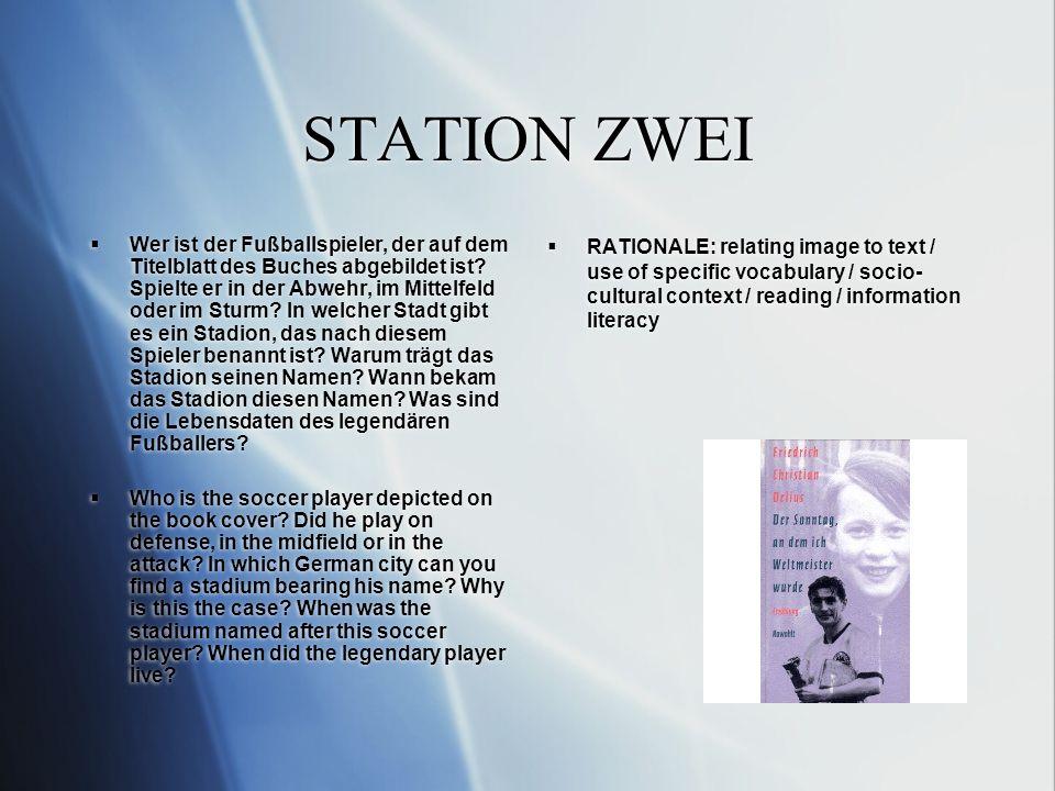 STATION ZWEI Wer ist der Fußballspieler, der auf dem Titelblatt des Buches abgebildet ist.