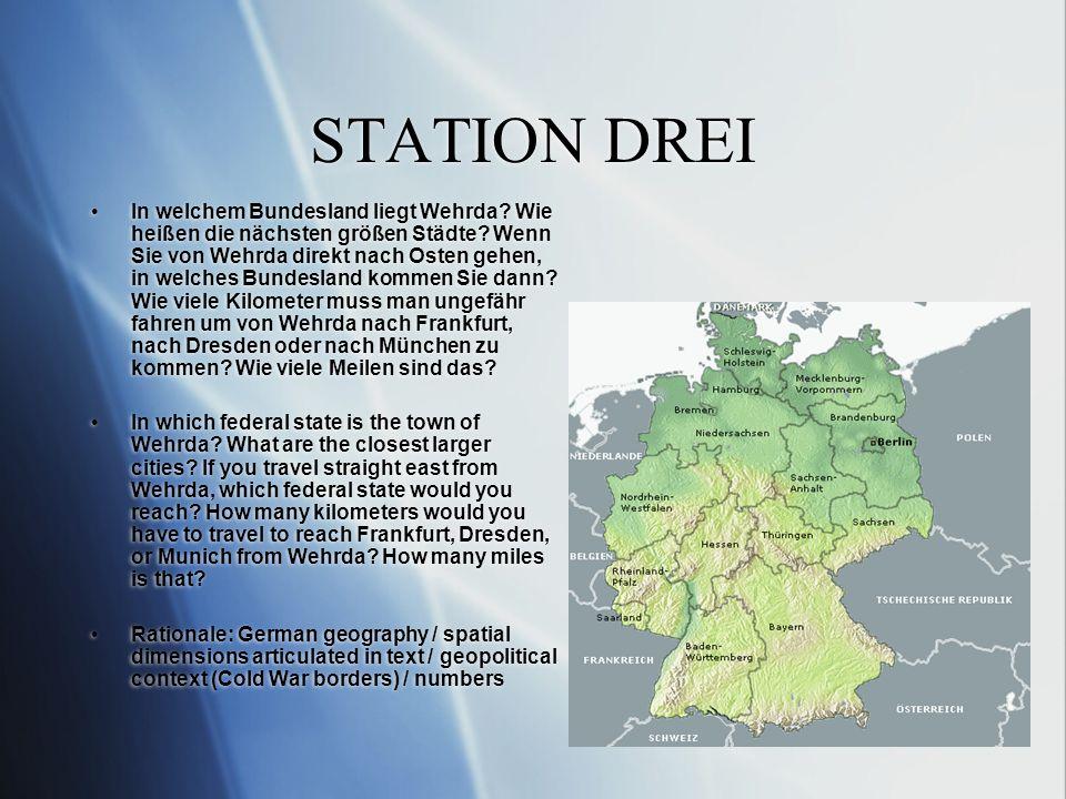 STATION DREI In welchem Bundesland liegt Wehrda.Wie heißen die nächsten größen Städte.