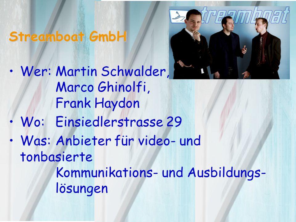 Streamboat GmbH Wer:Martin Schwalder, Marco Ghinolfi, Frank Haydon Wo:Einsiedlerstrasse 29 Was:Anbieter für video- und tonbasierte Kommunikations- und Ausbildungs- lösungen