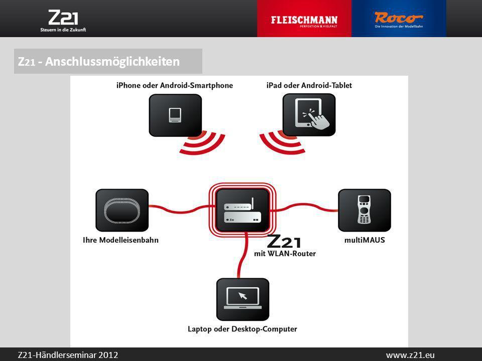 www.z21.euZ21-Händlerseminar 2012 Kompatibel zu allen multiMAUS Modellen und zur Lokmaus 2 Automatische Lok-Erkennung und Rückmeldung via RailCom Software- und Sound-Updates über das Smartphone/Tablet-PC Viele Schnittstellen: LAN, 3-mal X-Bus, Rückmeldung, LocoNet-, CAN- und Booster-Bus, Hauptgleis (rückmeldefähig), Programmier- und Updategleis (rückmeldefähig), Sniffer-Bus Im Lieferumfang enthalten: Z 21 -Digitalbasisstation, WLAN-Router, Basic-App, 54VA-Schaltnetzteil Z 21 -Gesamtpaket (Art.-Nr.: 10820) UVP 399,– Euro im Fachhandel Z 21 – Basisstation