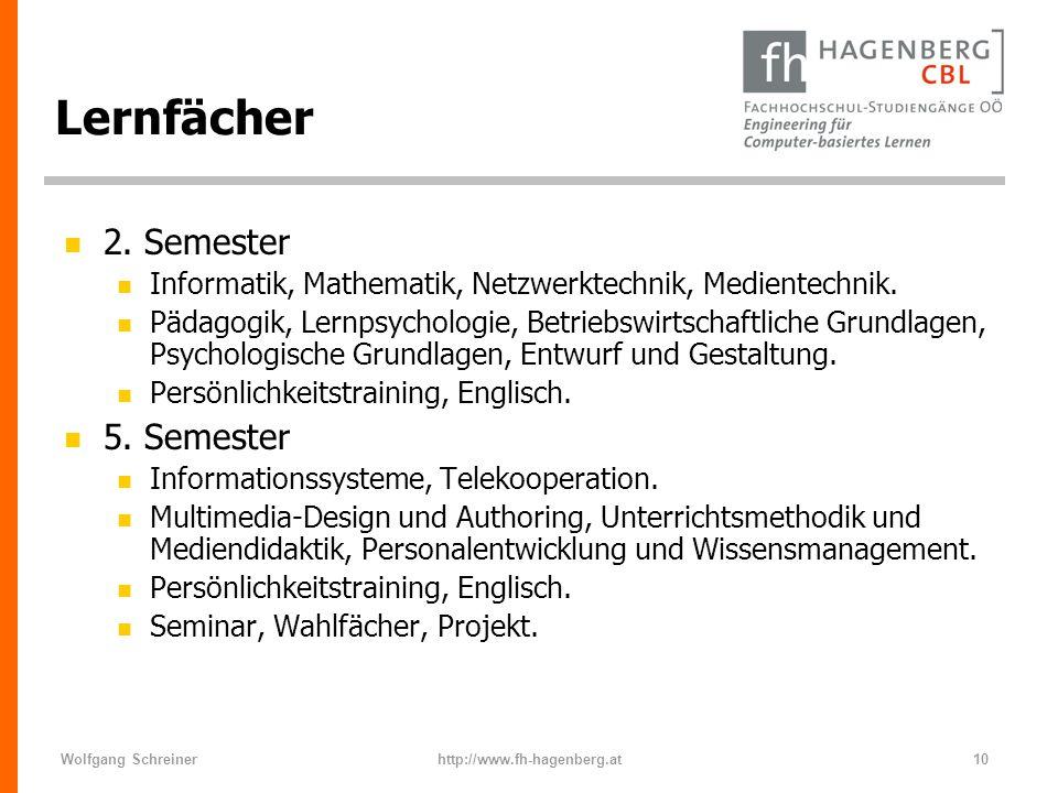 Wolfgang Schreinerhttp://www.fh-hagenberg.at10 Lernfächer n 2. Semester n Informatik, Mathematik, Netzwerktechnik, Medientechnik. n Pädagogik, Lernpsy