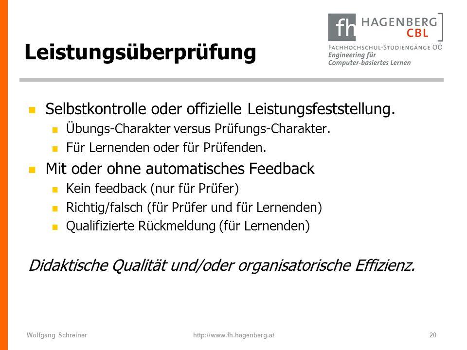 Wolfgang Schreinerhttp://www.fh-hagenberg.at20 Leistungsüberprüfung n Selbstkontrolle oder offizielle Leistungsfeststellung. n Übungs-Charakter versus