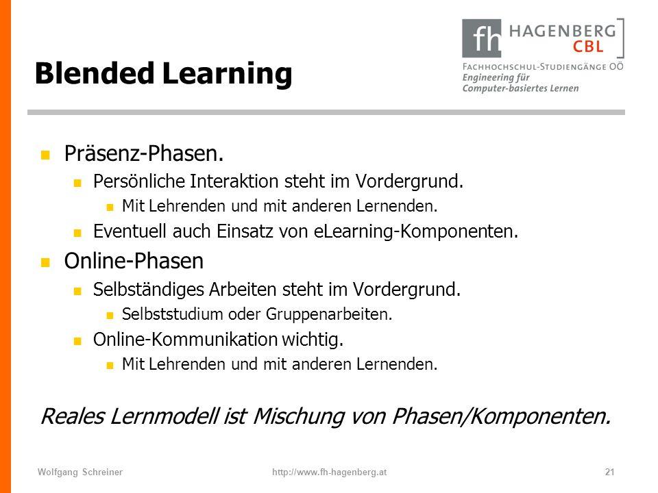 Wolfgang Schreinerhttp://www.fh-hagenberg.at21 Blended Learning n Präsenz-Phasen. n Persönliche Interaktion steht im Vordergrund. n Mit Lehrenden und