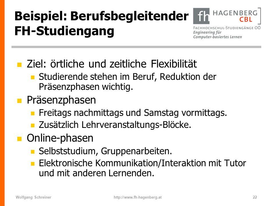 Wolfgang Schreinerhttp://www.fh-hagenberg.at22 Beispiel: Berufsbegleitender FH-Studiengang n Ziel: örtliche und zeitliche Flexibilität n Studierende s