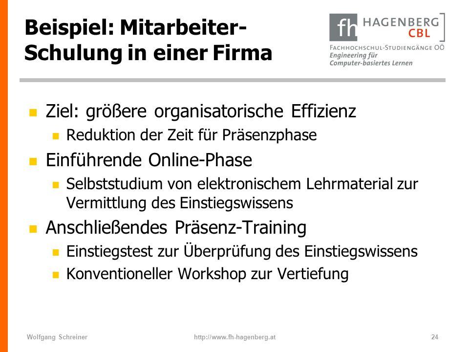 Wolfgang Schreinerhttp://www.fh-hagenberg.at24 Beispiel: Mitarbeiter- Schulung in einer Firma n Ziel: größere organisatorische Effizienz n Reduktion d