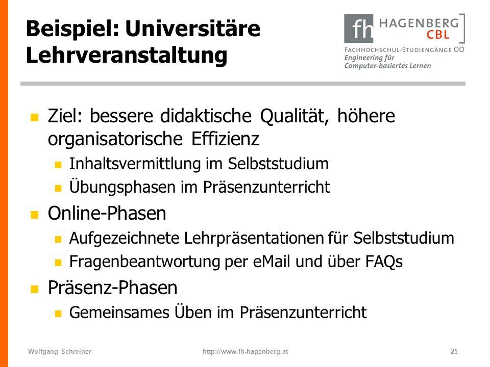 Wolfgang Schreinerhttp://www.fh-hagenberg.at25 Beispiel: Universitäre Lehrveranstaltung n Ziel: bessere didaktische Qualität, höhere organisatorische
