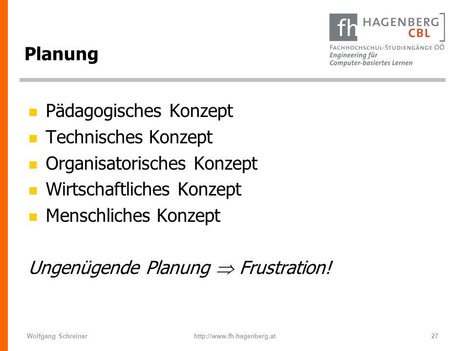 Wolfgang Schreinerhttp://www.fh-hagenberg.at27 Planung n Pädagogisches Konzept n Technisches Konzept n Organisatorisches Konzept n Wirtschaftliches Ko