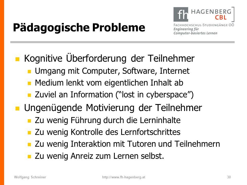 Wolfgang Schreinerhttp://www.fh-hagenberg.at30 Pädagogische Probleme n Kognitive Überforderung der Teilnehmer n Umgang mit Computer, Software, Interne