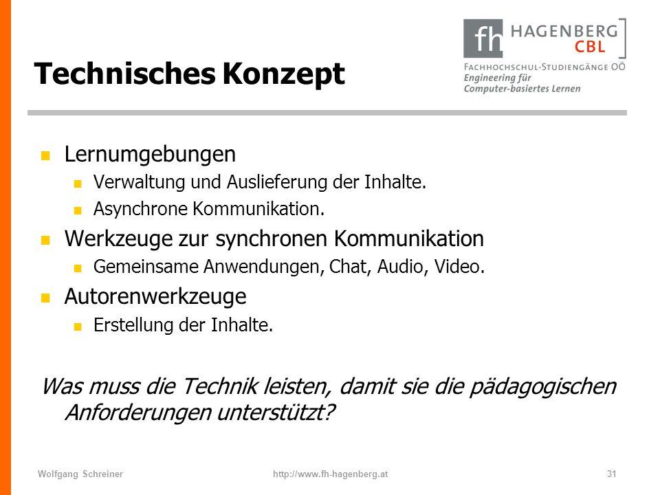 Wolfgang Schreinerhttp://www.fh-hagenberg.at31 Technisches Konzept n Lernumgebungen n Verwaltung und Auslieferung der Inhalte. n Asynchrone Kommunikat