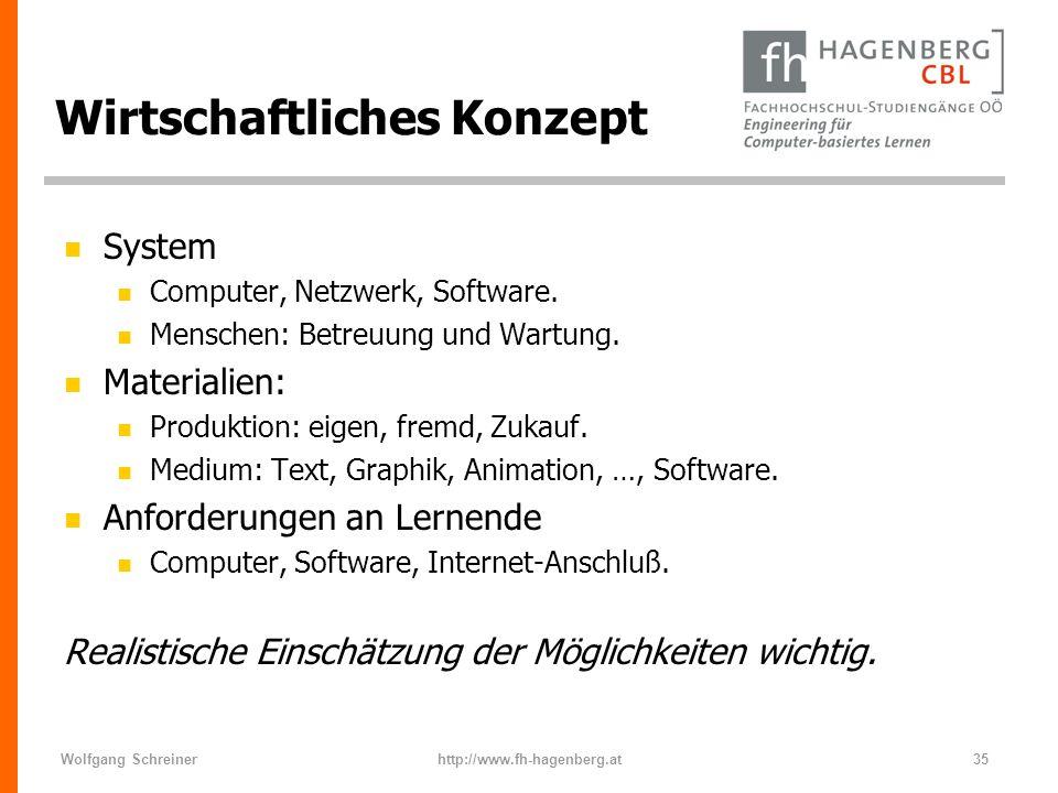 Wolfgang Schreinerhttp://www.fh-hagenberg.at35 Wirtschaftliches Konzept n System n Computer, Netzwerk, Software. n Menschen: Betreuung und Wartung. n