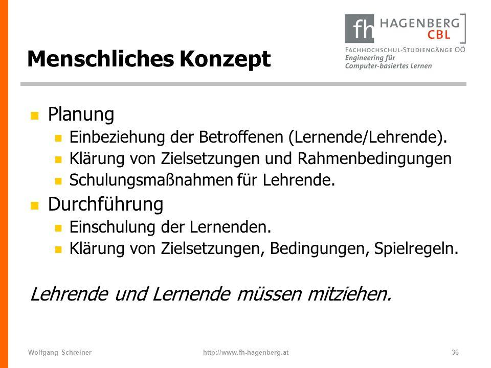 Wolfgang Schreinerhttp://www.fh-hagenberg.at36 Menschliches Konzept n Planung n Einbeziehung der Betroffenen (Lernende/Lehrende). n Klärung von Zielse