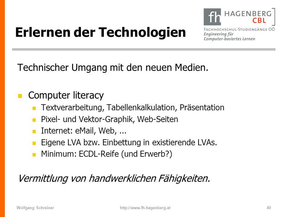 Wolfgang Schreinerhttp://www.fh-hagenberg.at40 Erlernen der Technologien Technischer Umgang mit den neuen Medien. n Computer literacy n Textverarbeitu