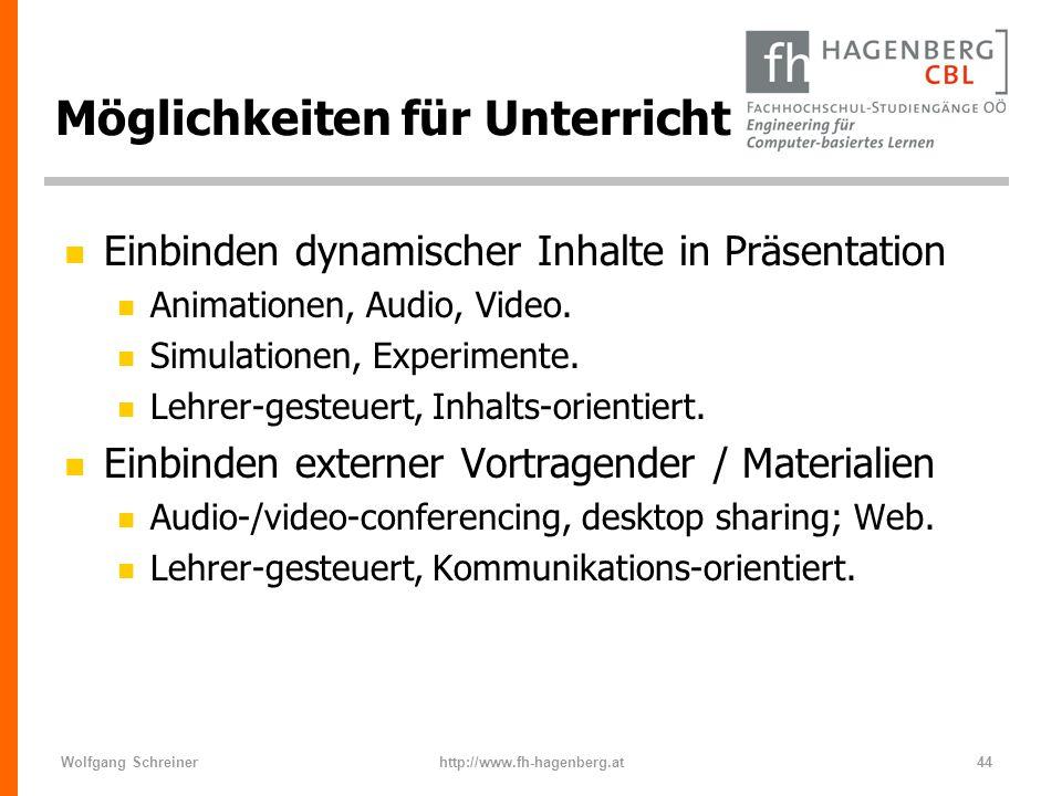 Wolfgang Schreinerhttp://www.fh-hagenberg.at44 Möglichkeiten für Unterricht n Einbinden dynamischer Inhalte in Präsentation n Animationen, Audio, Vide