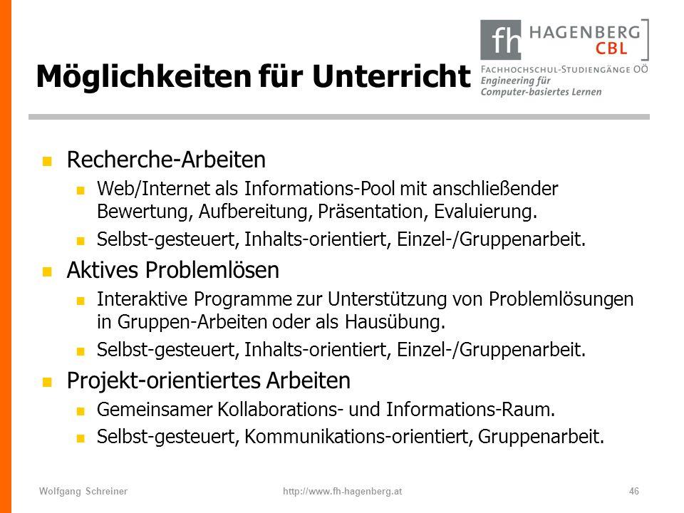 Wolfgang Schreinerhttp://www.fh-hagenberg.at46 Möglichkeiten für Unterricht n Recherche-Arbeiten n Web/Internet als Informations-Pool mit anschließend