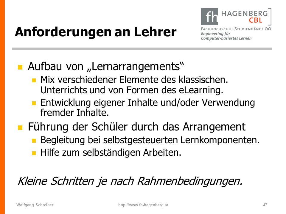 Wolfgang Schreinerhttp://www.fh-hagenberg.at47 Anforderungen an Lehrer n Aufbau von Lernarrangements n Mix verschiedener Elemente des klassischen. Unt
