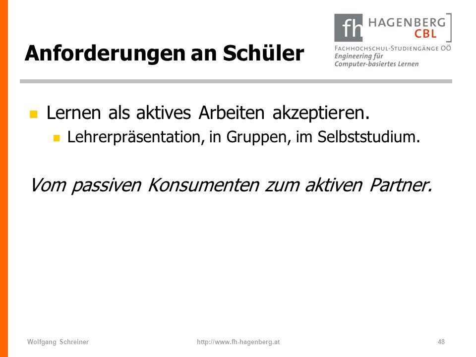 Wolfgang Schreinerhttp://www.fh-hagenberg.at48 Anforderungen an Schüler n Lernen als aktives Arbeiten akzeptieren. n Lehrerpräsentation, in Gruppen, i