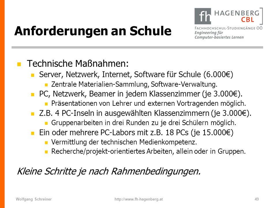 Wolfgang Schreinerhttp://www.fh-hagenberg.at49 Anforderungen an Schule n Technische Maßnahmen: n Server, Netzwerk, Internet, Software für Schule (6.00