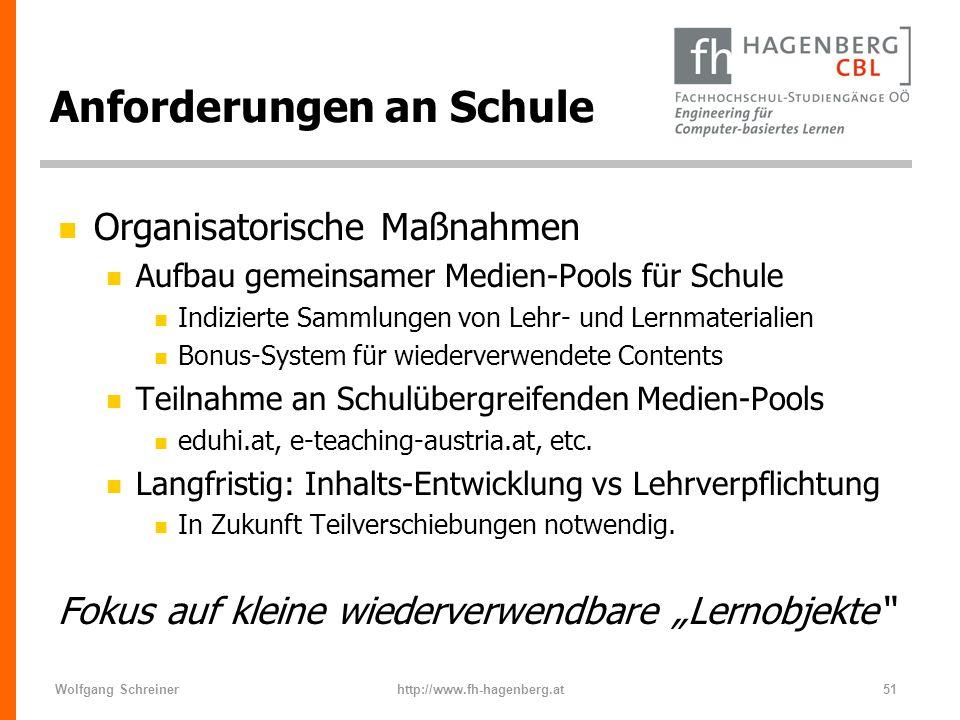 Wolfgang Schreinerhttp://www.fh-hagenberg.at51 Anforderungen an Schule n Organisatorische Maßnahmen n Aufbau gemeinsamer Medien-Pools für Schule n Ind