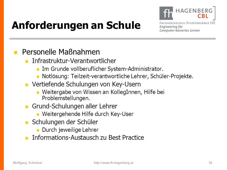 Wolfgang Schreinerhttp://www.fh-hagenberg.at52 Anforderungen an Schule n Personelle Maßnahmen n Infrastruktur-Verantwortlicher n Im Grunde vollberufli