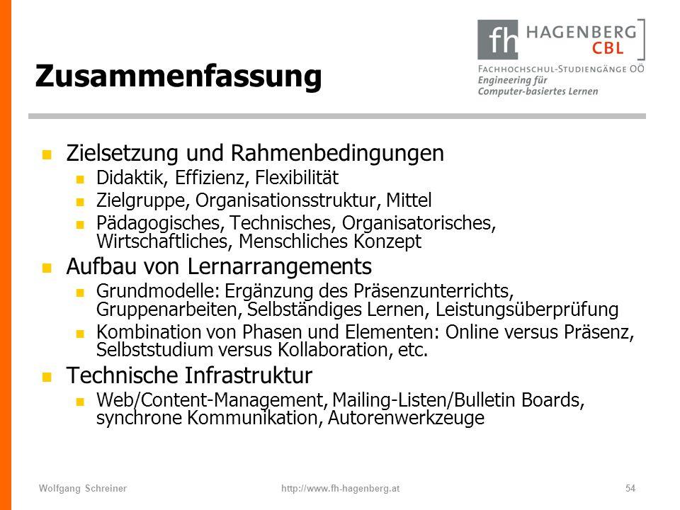 Wolfgang Schreinerhttp://www.fh-hagenberg.at54 Zusammenfassung n Zielsetzung und Rahmenbedingungen n Didaktik, Effizienz, Flexibilität n Zielgruppe, O