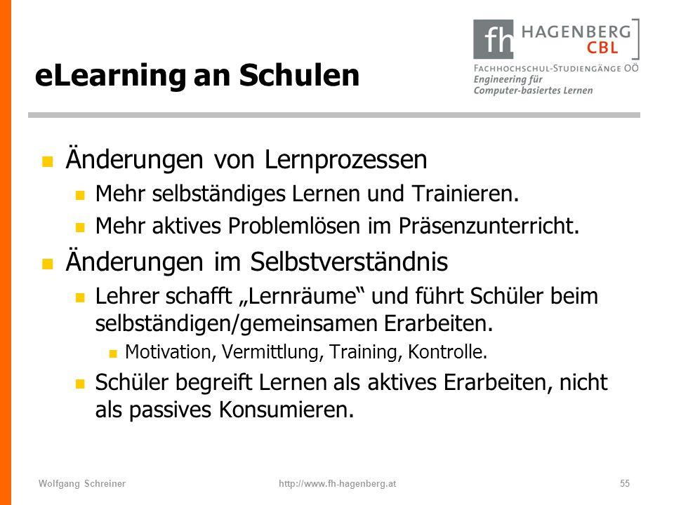 Wolfgang Schreinerhttp://www.fh-hagenberg.at55 eLearning an Schulen n Änderungen von Lernprozessen n Mehr selbständiges Lernen und Trainieren. n Mehr