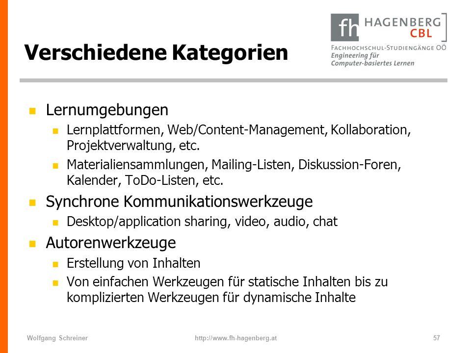 Wolfgang Schreinerhttp://www.fh-hagenberg.at57 Verschiedene Kategorien n Lernumgebungen n Lernplattformen, Web/Content-Management, Kollaboration, Proj