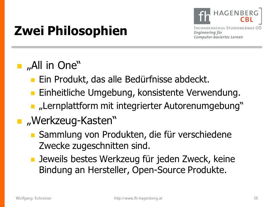 Wolfgang Schreinerhttp://www.fh-hagenberg.at58 Zwei Philosophien n All in One n Ein Produkt, das alle Bedürfnisse abdeckt. n Einheitliche Umgebung, ko