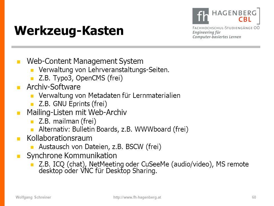 Wolfgang Schreinerhttp://www.fh-hagenberg.at60 Werkzeug-Kasten n Web-Content Management System n Verwaltung von Lehrveranstaltungs-Seiten. n Z.B. Typo