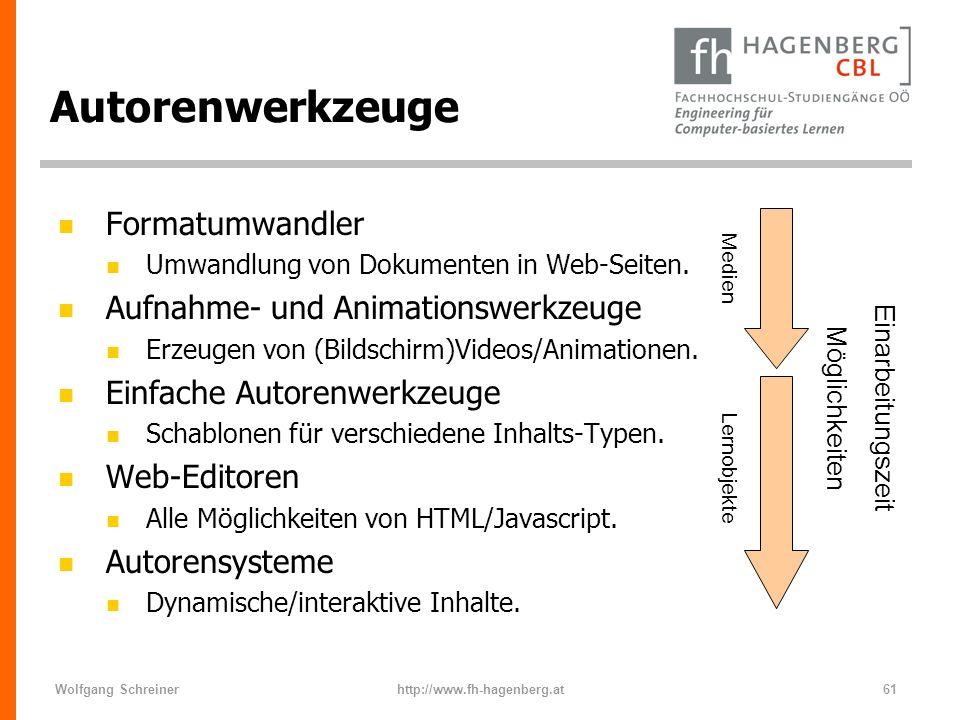 Wolfgang Schreinerhttp://www.fh-hagenberg.at61 Autorenwerkzeuge n Formatumwandler n Umwandlung von Dokumenten in Web-Seiten. n Aufnahme- und Animation