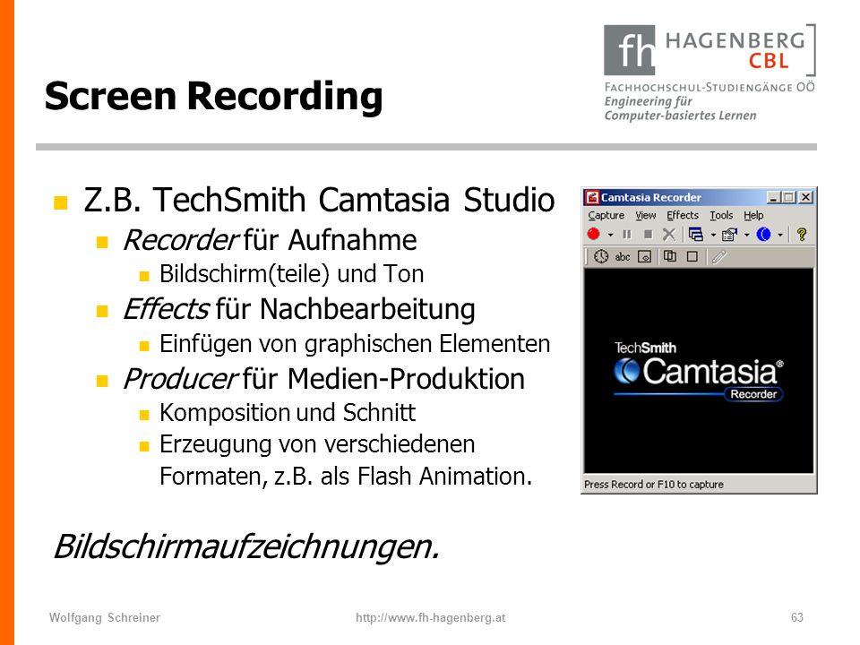 Wolfgang Schreinerhttp://www.fh-hagenberg.at63 Screen Recording n Z.B. TechSmith Camtasia Studio n Recorder für Aufnahme n Bildschirm(teile) und Ton n