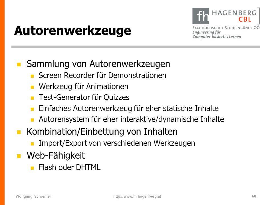 Wolfgang Schreinerhttp://www.fh-hagenberg.at68 Autorenwerkzeuge n Sammlung von Autorenwerkzeugen n Screen Recorder für Demonstrationen n Werkzeug für