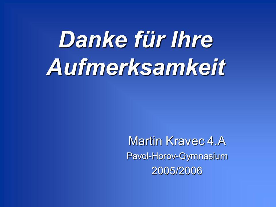 Danke für Ihre Aufmerksamkeit Martin Kravec 4.A Pavol-Horov-Gymnasium2005/2006