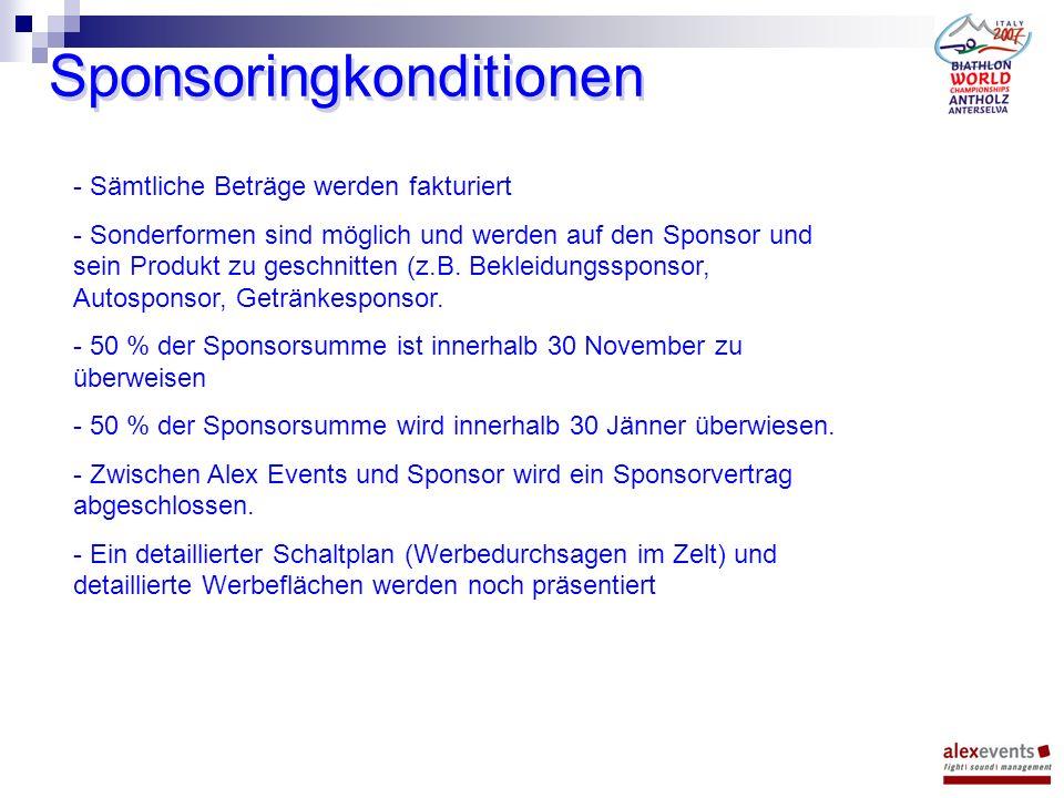 Sponsoringkonditionen - Sämtliche Beträge werden fakturiert - Sonderformen sind möglich und werden auf den Sponsor und sein Produkt zu geschnitten (z.B.