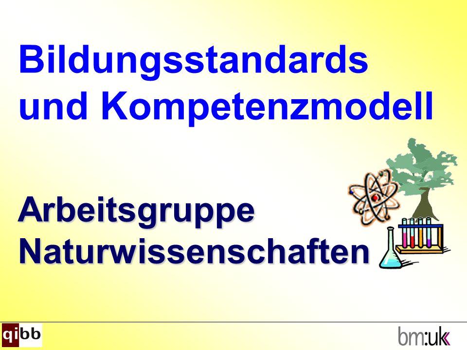 Arbeitsgruppe Naturwissenschaften Bildungsstandards und Kompetenzmodell Arbeitsgruppe Naturwissenschaften
